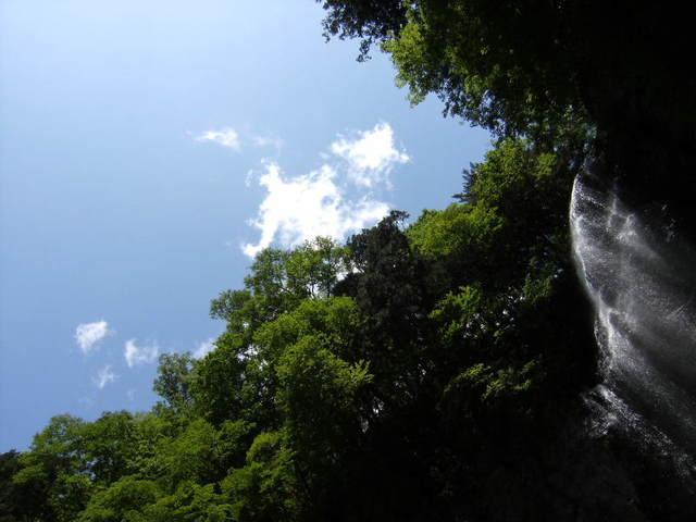 滝と新緑と空